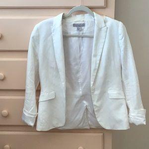 White linen H&M blazer.